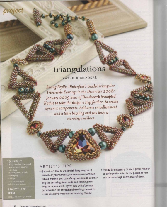 Схемы: Колье Triangulations. Beadwork 2010 02-03